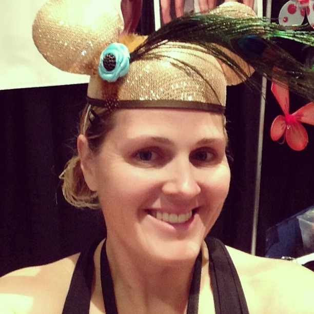 "Rocked the gold ""Limited Time Magic"" ear hat today @runDisney Tinker Bell Half Marathon Expo while working the @runTeamSparkle booth wearing the gold mini dot skirt. I got tons of compliments. #teamsparkle #tinkhalf #tinkerbellhalf #rundisney #limitedtime"
