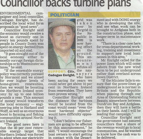 Councuillor Backs wind turbines 17th oct 2011 by CadoganEnright