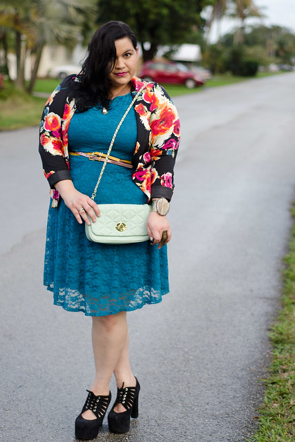 Kirstin Marie in Wet Seal Dress & Floral Blazer with JC Shoes