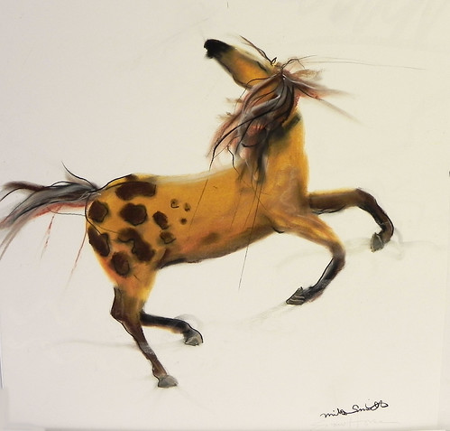 """Snow Horse"" pastel by Mike Smith at Smith Galleries by Smith Galleries"
