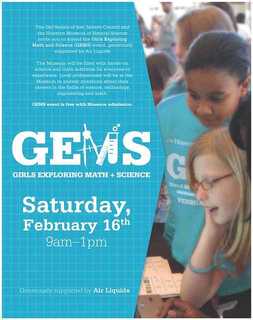 Join us Feb. 16 for GEMS: Girls Exploring Math and Science