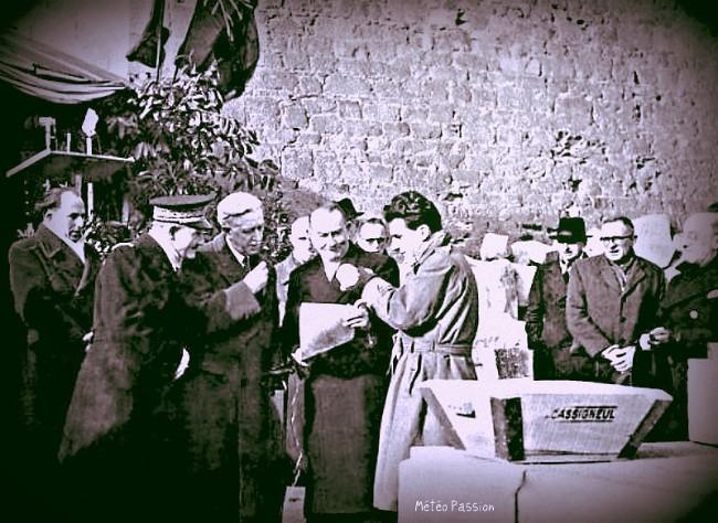 pose de la première pierre de la reconstruction de Saint-Malo, le 26 janvier 1947 météopassion