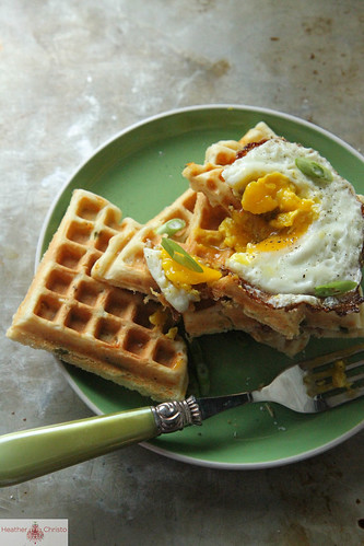 Green Onion, Bacon and Cheddar Waffles