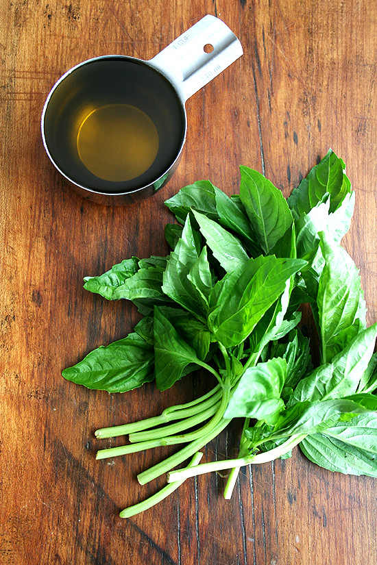 basil and extra virgin olive oil