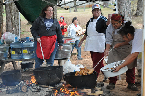 Members of the Mississippi Band of Choctaw Indians are making corn into hominy, a process that allows for better storage of the crucial grain.
