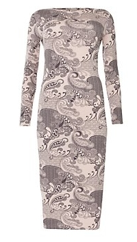 Cameo Rose Shell Pink Oriental Print Midi Dress