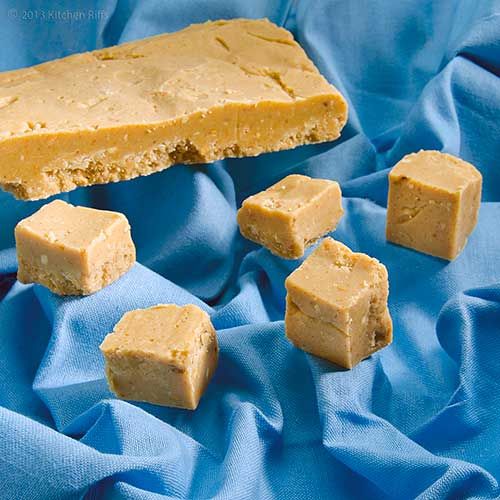 Microwave Peanut Butter Fudge Pieces on Blue Napkin