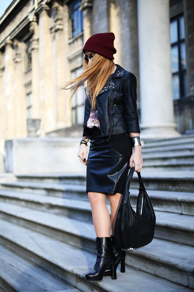 Twist faux leather jacket & skirt