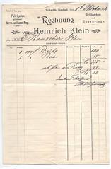 117409571345  Europe Jewish Store Rechnung von Heinrich Klein