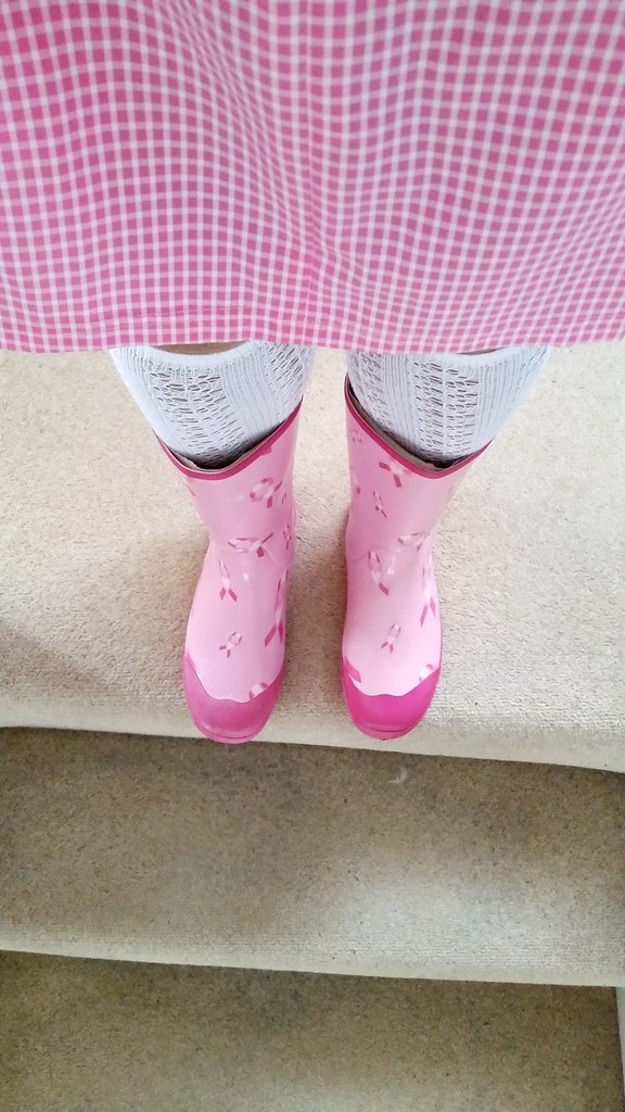 100% satisfaction usa cheap sale best wholesaler Tickled pink Asda wellies with white knee-high socks and p ...