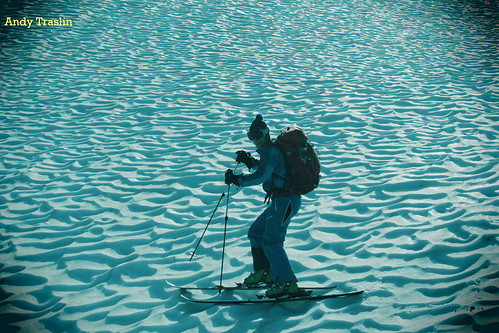 Feeling blue?... No corn cycle today. Perfectly formed deep frozen sun cups...  photo Andy Traslin.... skier Mike Traslin