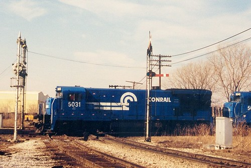 Southbound Conrail light engine movement passing through Brighton Junction.  Chicago Illinois.  January 1988. by Eddie from Chicago