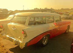 automobile, automotive exterior, vehicle, ford ranch wagon, antique car, chevrolet bel air, vintage car, land vehicle,