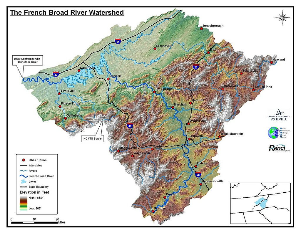 french broad river upstream of asheville north carolina - along with the new river and the pigeon river the french broad is one ofthe oldest in the world these rivers were flowing in roughly the samecourse