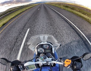 This is what 82 MPH on the open road at sunrise on a Montana Interstate looks like.  Interstate 90, near Anaconda, MT.