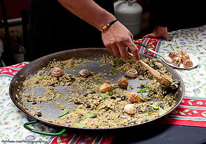 Last bit of snail paella in the pan