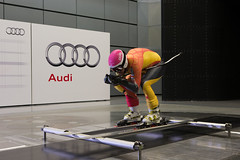 Ben Thomsen during wind-tunnel testing at an Audi facility in Germany.