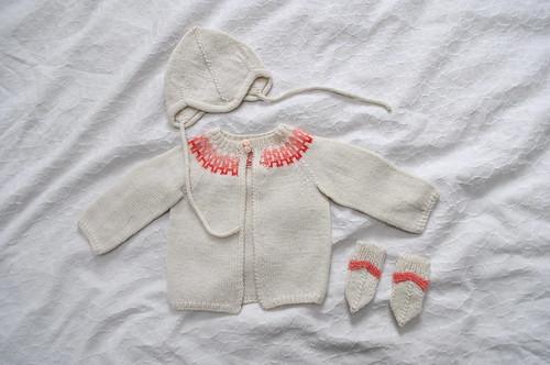 fair isle baby cardigan, mittens and cap