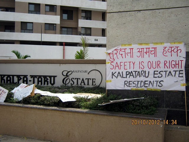 """Safety is Our Right,"" Residents of Kalpataru Estate, Pimple Gurav, Pune 411061"