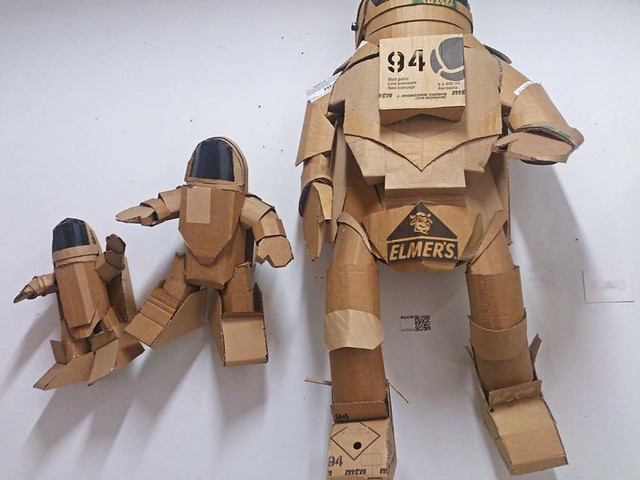 cardboard robot sculptures by Rhom