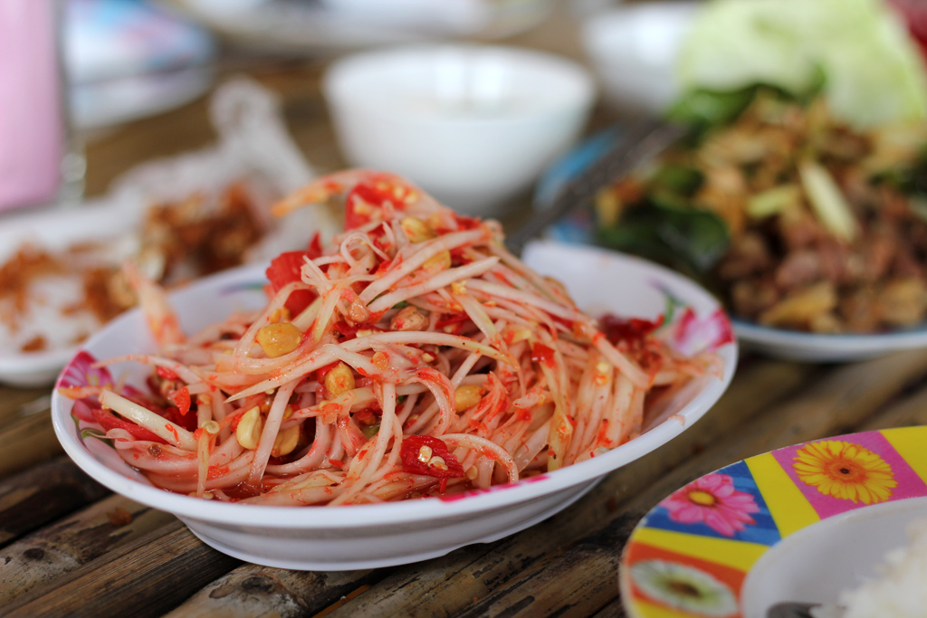 Green papaya salad in Northern Thailand