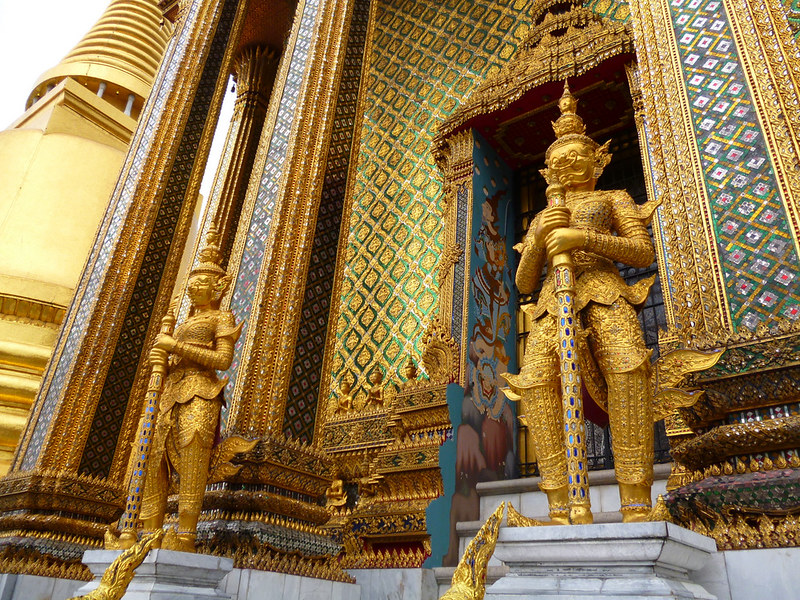 Many gold guardians at Bangkok's Grand Palace