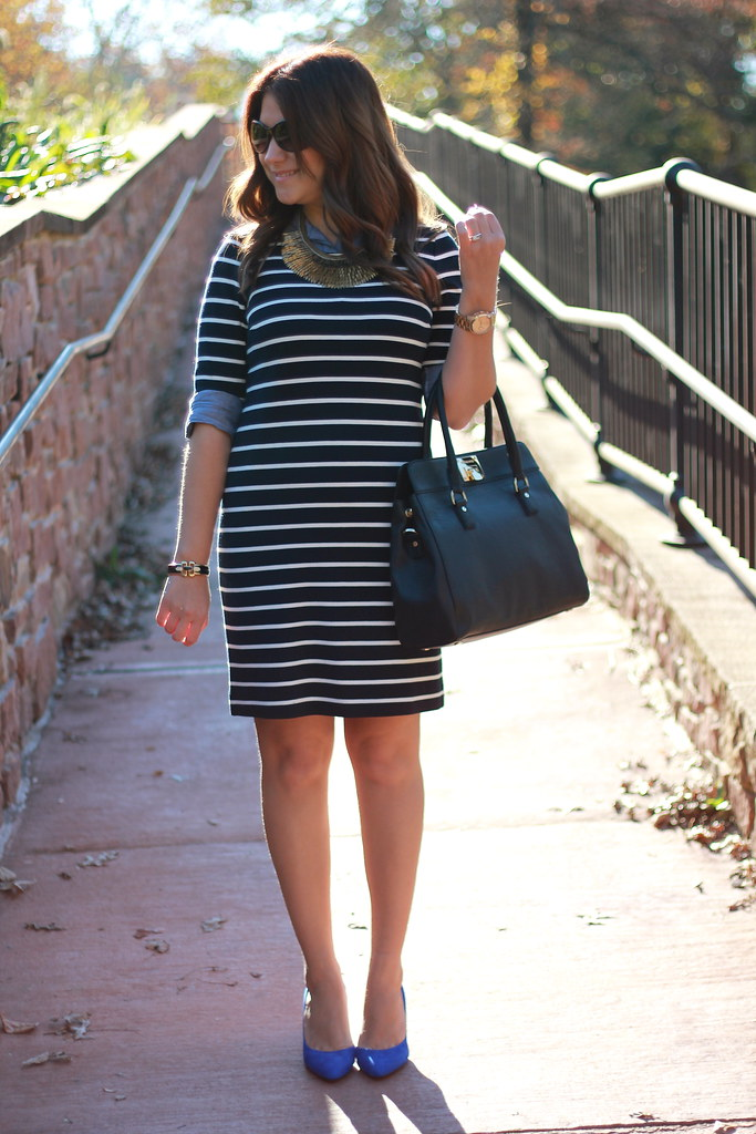 striped dress work outfit