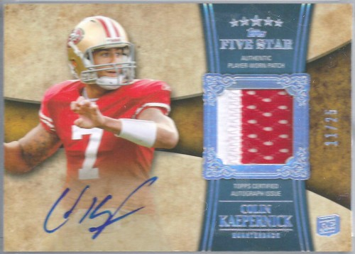 2011 Topps Five Star Rookie Autographed Patch Rainbow #181 Colin Kaepernick (11 of 25)