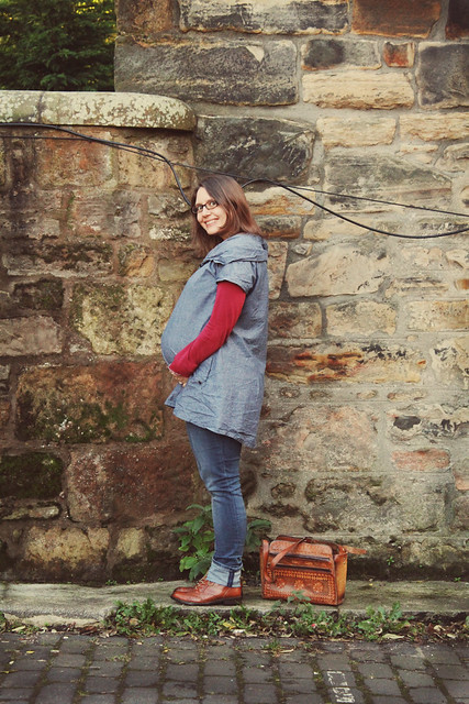 double denim maternity style