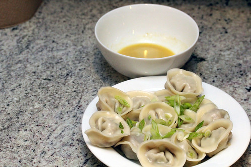 Bbq pork potstickers with serrano-mustard sauce