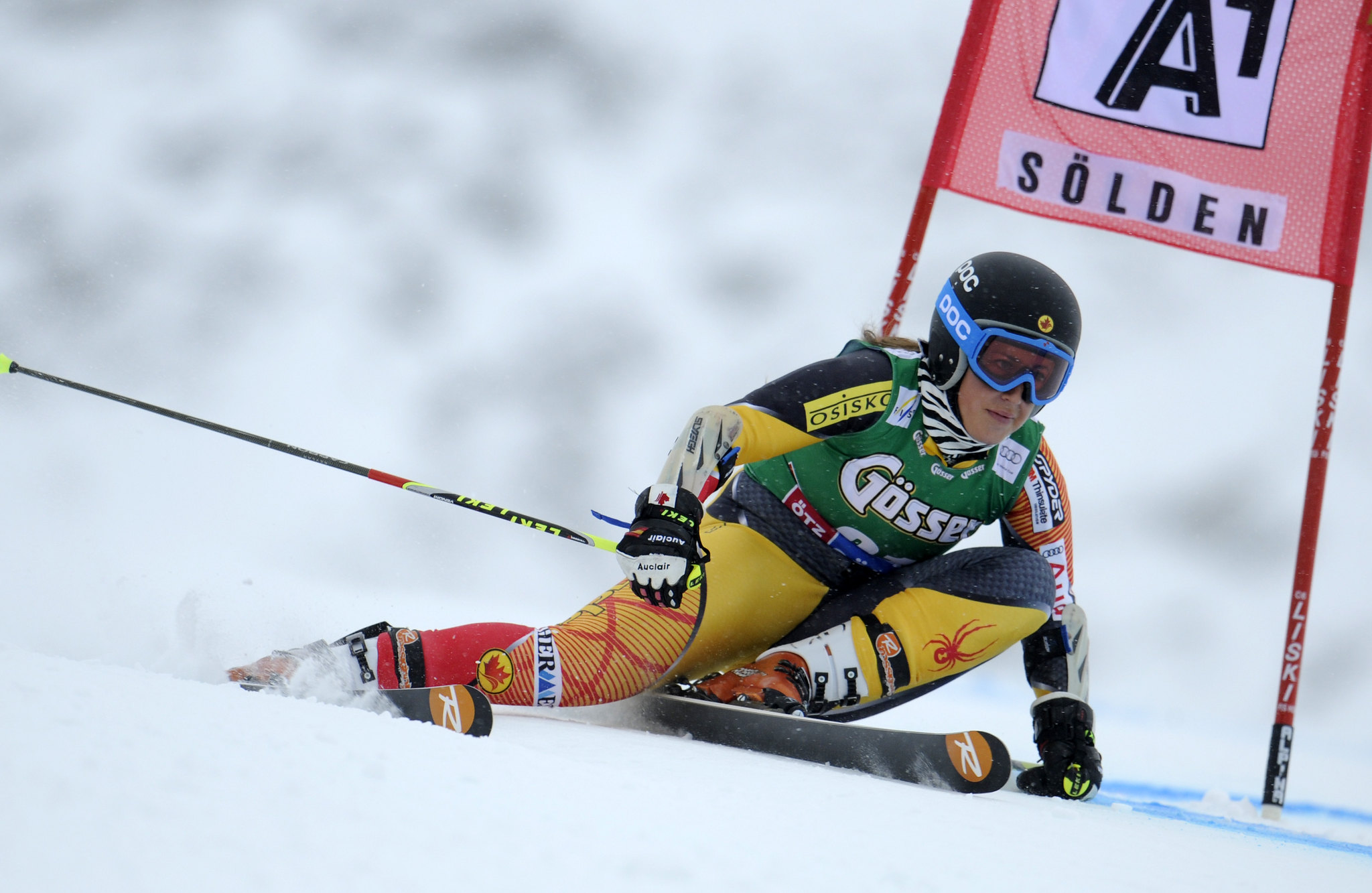 Marie-Pier Préfontaine at the World Cup giant slalom in Soelden, Austria.