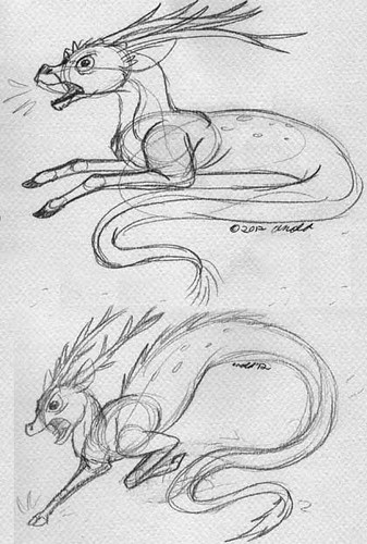 "Initial Sketches for ""Earthquake Beasts"" - A'yaho"
