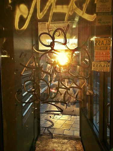 Front door graffiti at sunrise by smallfox2