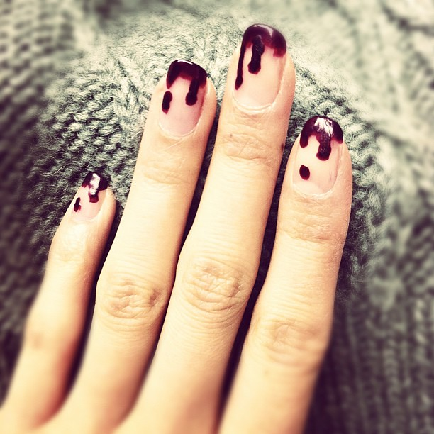 dripping-oxblood-nails
