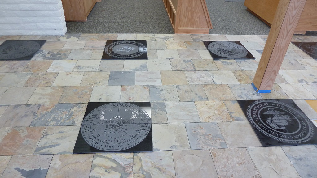 View of laser inscribed black granite that featured the se