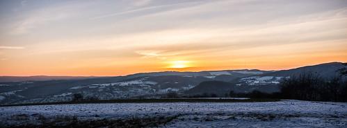 winter sunset snow landscape