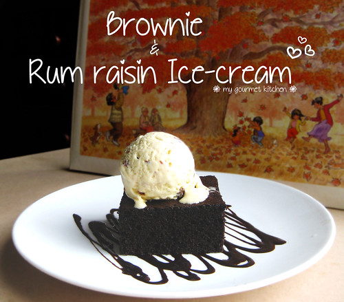 brownie & rum raisin ice-cream