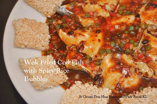 B Wok Fried Cod FIsh with Spicy Rice Bubbles