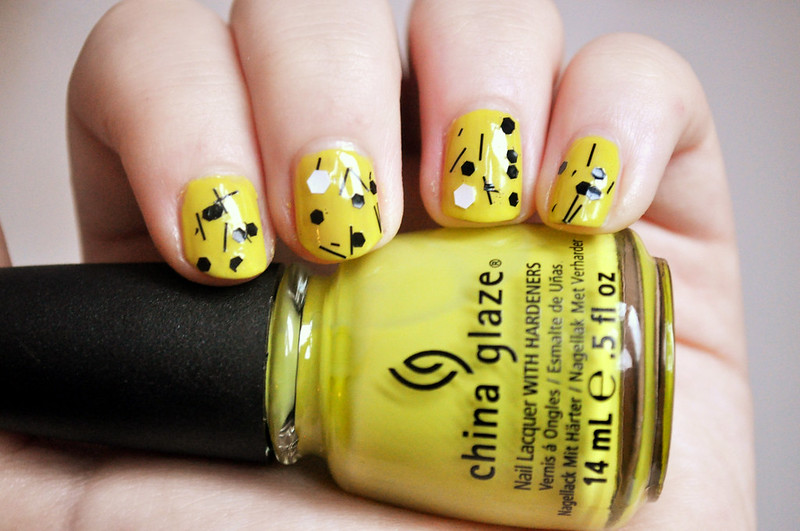 china glaze electric pineapple whirled away nail polish notd 2