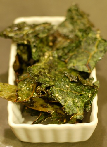 Kale chips with sesame seeds and sea salt by Eve Fox, Garden of Eating blog, copyright 2013