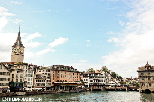 Old Town Zurich and St. Peter Church / St. Peterskirche over River Limmat in Zurich Switzerland | Travel Photography