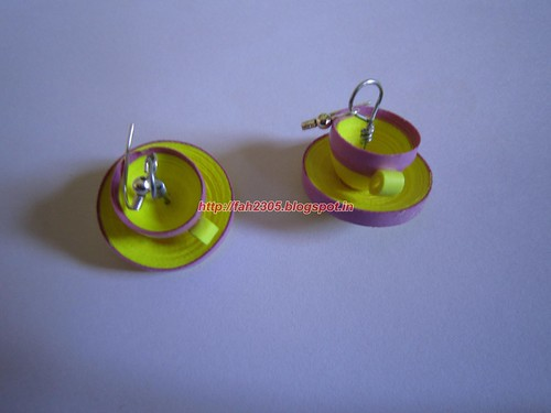 Handmade Jewelry - Paper Quilled Cup Saucer Earrings (Yellow & Pink) (1) by fah2305