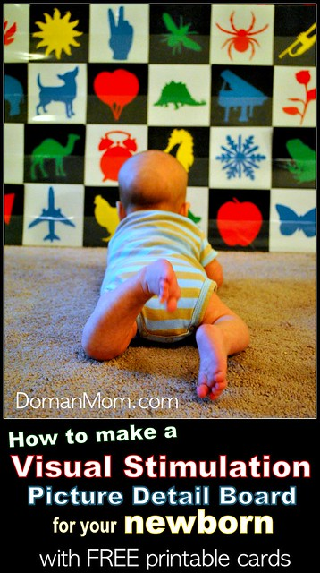 How to Make a Visual Stimulation Picture Board for your Newborn (with free printable cards)
