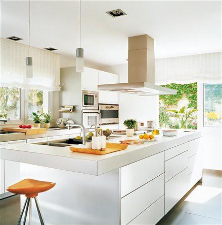 Cocinas modernas blancas belleza y simpleza en tu hogar - Cocina rustica blanca ...