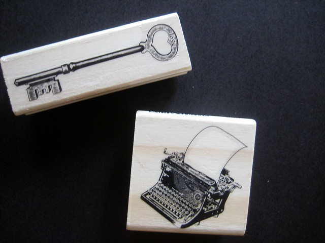 Typewriter and key rubber stamps