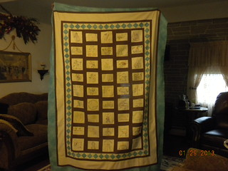 embroidered quilt top