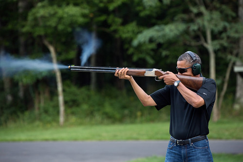 President Barack Obama shoots clay targets at Camp David, MD, August 4th 2012