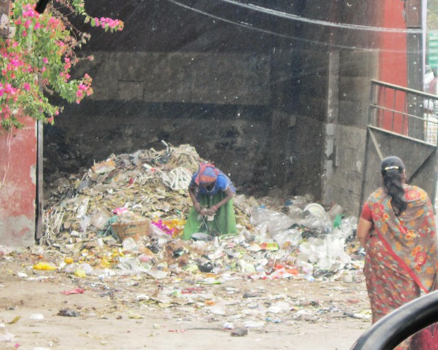 A rubbish collector in India