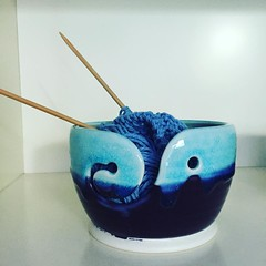 Yarn bowl-washcloth still life