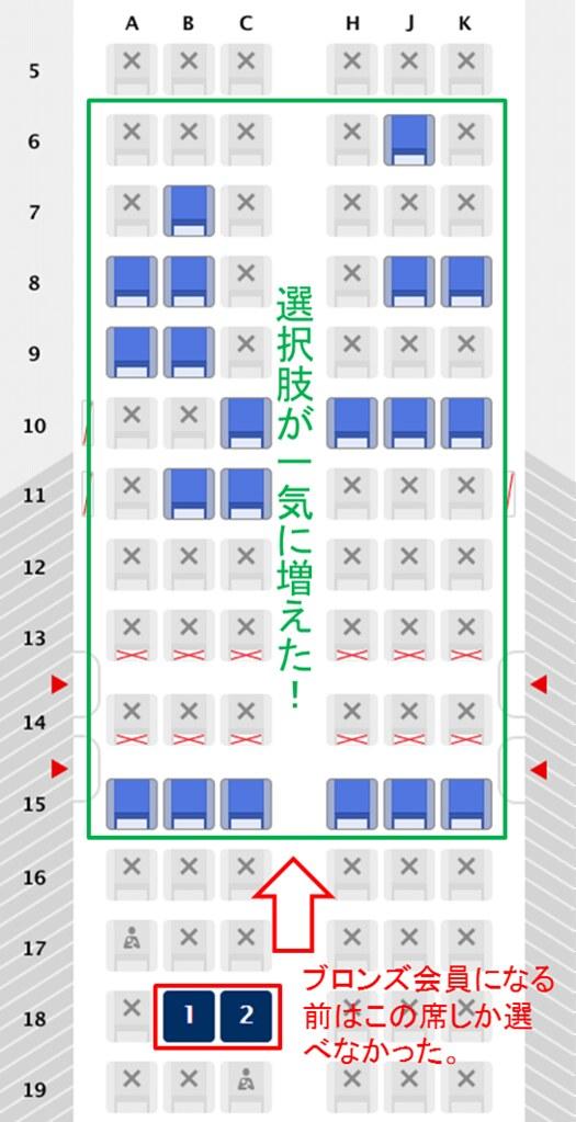 160920 ブロンズ会員になったときの座席指定範囲の変化